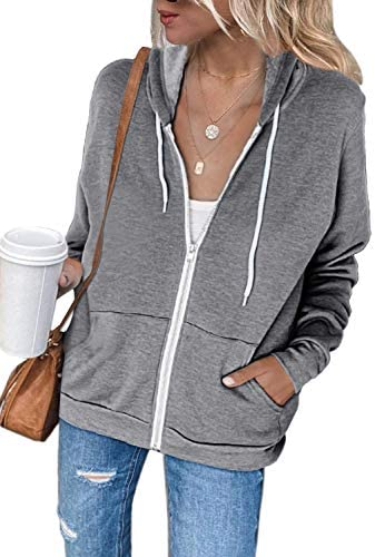 Acelitt Women Casual Long Sleeve Zip Up Hooded Sweatshirt Hoodies with Pockets,S-XXL