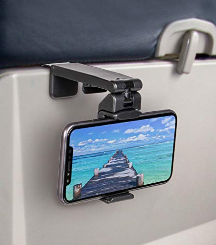 Perilogics Universal Airplane in Flight Phone Mount. Multi-Directional with 360 Degree Rotation. Use As Phone Stand, Handheld Or Mount On Table Or Cabinet. US Patent No.: US10,272,847 B1