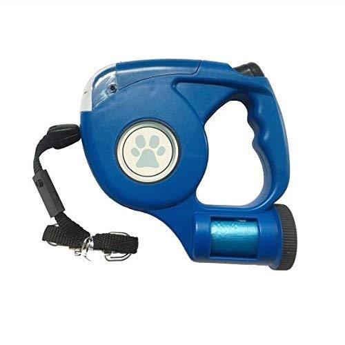 RVI Retractable Dog Lead, 15ft Extendable Pet Walking Leash LED Flashlight & Waste Bag Dispenser Poop Bags Medium-Large Dog (Blue) (Leash Dog Retractable Flashlight)