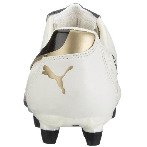 Puma - Botas de fútbol de piel sintética para hombre Blanco - blanco/negro/dorado