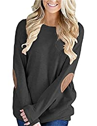 Womens Casual Solid Long Sleeve Crewneck Pullover Tunic T Shirt Tops