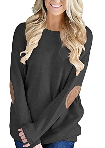 (Unidear Womens Casual Solid Long Sleeve Crewneck Pullover Tunic T Shirt Tops #2-Style Black M)