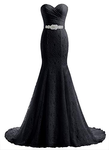 Likedpage Women's Lace Mermaid Bridal Wedding Dresses (US12, Black)