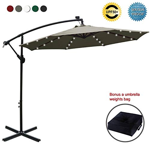 ABCCANOPY 10 FT Solar Powered LED Patio Outdoor Umbrella Hanging Umbrella Cantilever Umbrella Offset Umbrella Easy Open Lift 360 Degree Rotation with 32 LED Lights (Tan) (Umbrella 75 Base Patio Lb)