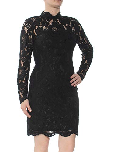 Betsey Johnson Cocktail Dresses - Betsey Johnson Womens Illusion Lace Sheath Dress Blacks