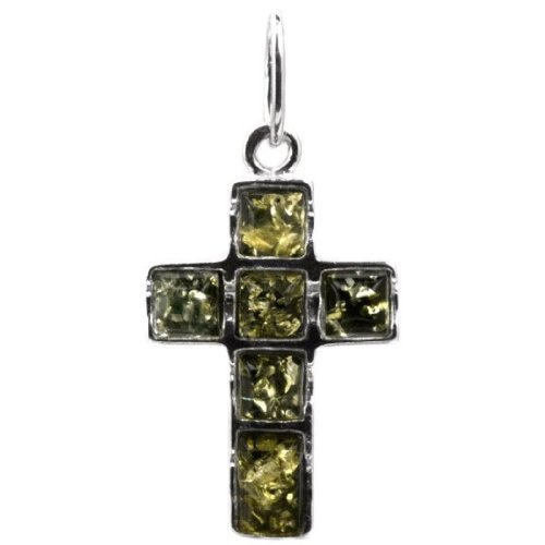 Amber Yellow Cross - Sterling Silver Green Amber Cross Pendant