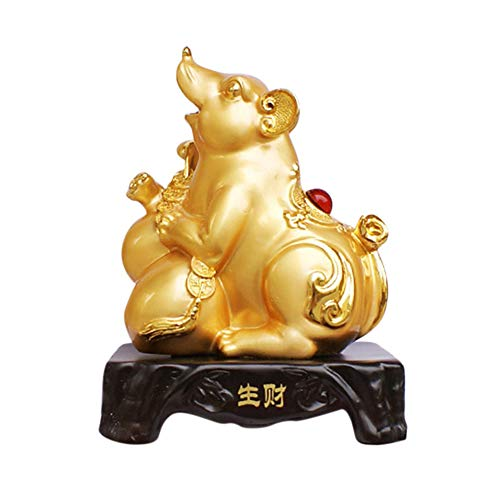 Aike Home Feng Shui Chinese Zodiac Rat/Mouse Year Golden Resin Collectible Figurines Decoration for Luck & Wealth Perfect for Your Home or Office
