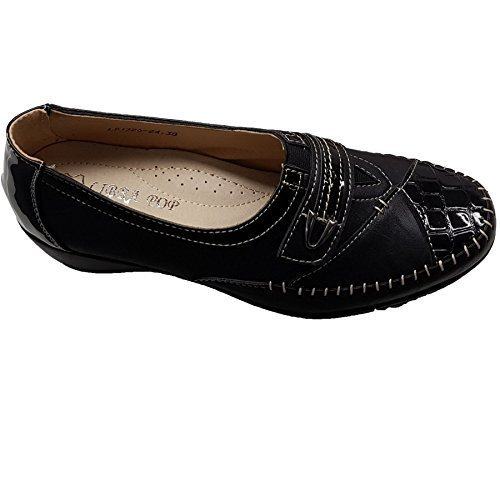 Fantasia Boutique Ladies Faux Leather Patent Croc Metallic Elasticated Padded Insole Low Wedges [Black, UK 7]