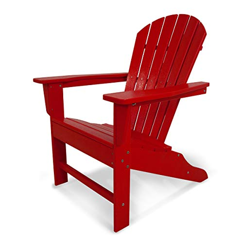POLYWOOD Outdoor Furniture South Beach Adirondack Chair, Sunset Red-Recycled Plastic Materials
