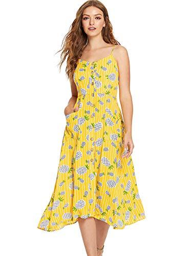 Milumia Women Button up Sundress Casual Fit Flare Boho Summer Yellow XS ()