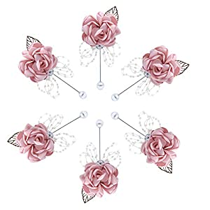 Buery 6 Pieces/lot Wedding Boutonniere Handmade Rose Boutonniere Corsage with Pin, Lapel Pin Rose Wedding Boutonniere for Wedding Prom Party Decor (Rhinestone Pink) 115