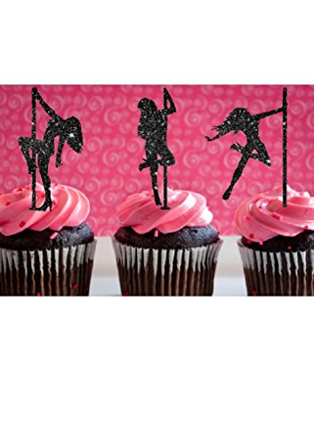 Various Fun Designs of Sexy Pole Dancers/High Heels/Corset/Champagne Glasses/Bride & Groom Cupcake Toppers for Birthday/Bridal Sower/Weddingd/New Years Events/Party sets of 12... (Pole Dancing)