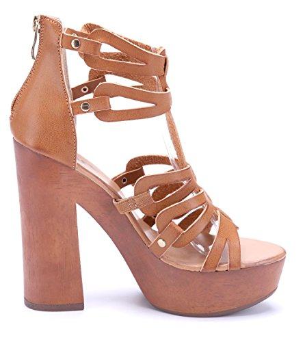 Schuhtempel24 Damen Schuhe Plateausandaletten Sandalen Sandaletten Blockabsatz Nieten 13 cm High Heels Braun