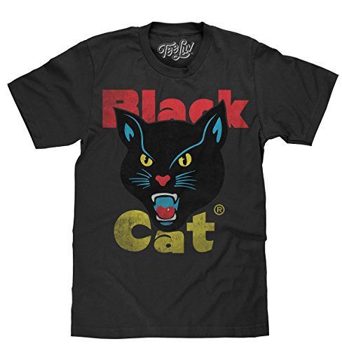 Tee Luv Black Cat Fireworks Licensed T-Shirt  Poly Cotton Blend  Classic Look-Large Black