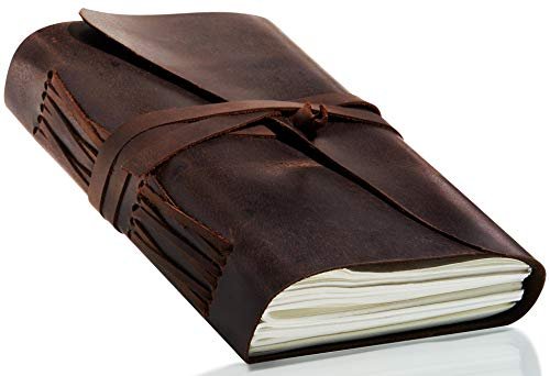 (Leather Bound Journal by RUSTIC CRAFTS - Handcrafted Natural Feel Texture 7x5 inch Antique Brown Unlined Writing Bullet Pad - Gift for Men & Women - Vintage Travel Planner - Record Your Inspirations)