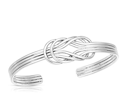 Unique Royal Jewelry Nautical Sailor's Double Love Knot Sterling Silver Cuff Bracelet