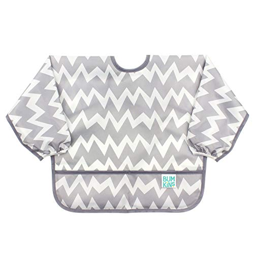 Bumkins  Sleeved Bib / Baby Bib / Toddler Bib / Smock, Waterproof, Washable, Stain and Odor Resistant, 6-24 Months  - Gray Chevron from Bumkins