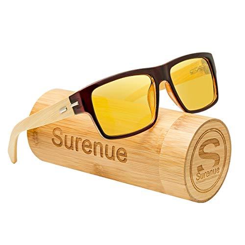 Surenue night driving glasses anti glare Wood Square polarizedYellow Tint Polycarbonate Lens Safety Sunglasses Men Women