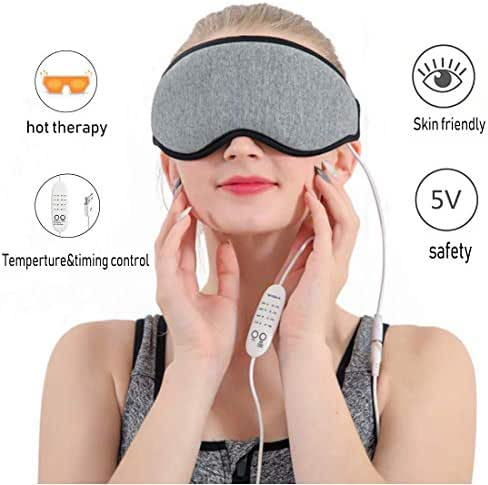 Electric USB Heated Eye Mask 3D Hot Steam Warm Therapeutic Treatment for Relieving Headache, Eye Stress, Insomnia, Dry Eye, Blepharitis, Sleeping, Puffy Eyes, Dark Cycles and Tired Eyes - Gray