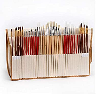 HYCy 38 Pcs Paint Brushes Set with Canvas Bag Case Long Wooden Handle Synthetic Hair Art Supplies for Oil Acrylic Watercolor Painting