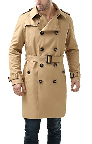 BGSD Men's Anthony Classic Double Breasted Trench Coat - Tan M