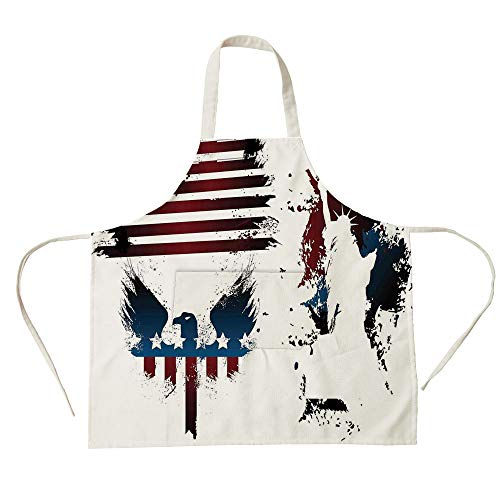 3D Printed Cotton Linen Big Pocket Apron,American Flag Decor,Set with Bald Eagle Symbol and Stripes Stars Statue of Liberty Grunge,Navy Maroon,for Cooking Baking Gardening