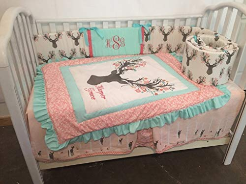 Heather Woodland (Woodland 1 to 4 Piece baby girl nursery crib bedding Large Stag Head Ruffled Quilt, bumper, and bed skirt, Buck, deer, fawn, head silhouette, Mint, Coral, Gray, Pink)