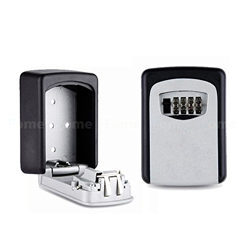 Key Box, FOME Wall-mounted Security Key Lock Box Key Safe Box with 4-Digit Combination Key Storage Box Zinc Alloy Waterproof Key Keeper 4.60 x 3.22 x 1.45in for Sharing Your Keys Securely