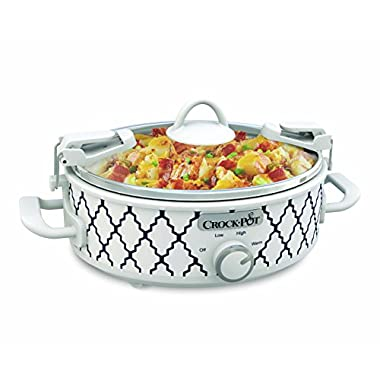 Crockpot SCCPCCM250-BT Mini Casserole Crock Slow Cooker, 2.5 quart, White/Blue