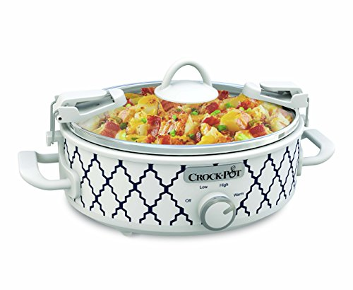 Crockpot 2.5-Quart Mini Casserole Crock Slow Cooker, White/Blue (Crock Pot Casserole Slow Cooker)