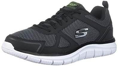 Skechers Sport Men's Track Bucolo Oxford,black/white,10.5 2E US