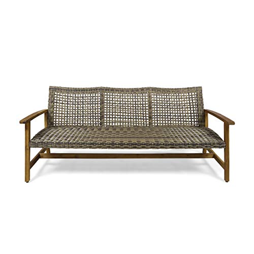 Christopher Knight Home 307797 Marcia Outdoor Wood Sofa, Wicker, 75.50 x 31.00 x 31.50, Gray, Natural Stained Finish (Outdoor Sofas)