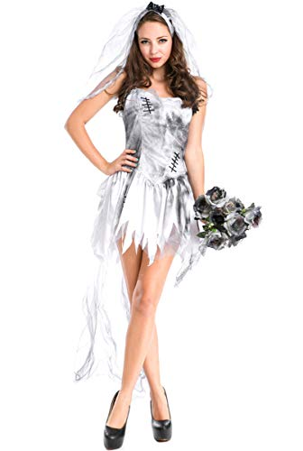 Honeystore Ghost Bride Demon Costume Vampire Fancy Dress Sexy Poison Ivy Costume ()