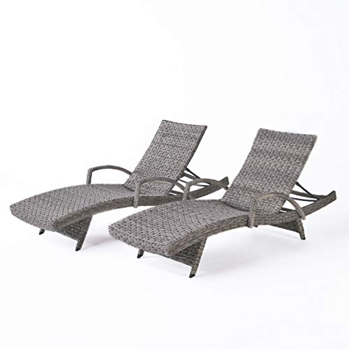 Great Deal Furniture Keira Outdoor Armed Aluminum Framed Grey Wicker Chaise Lounge (Set of 2)