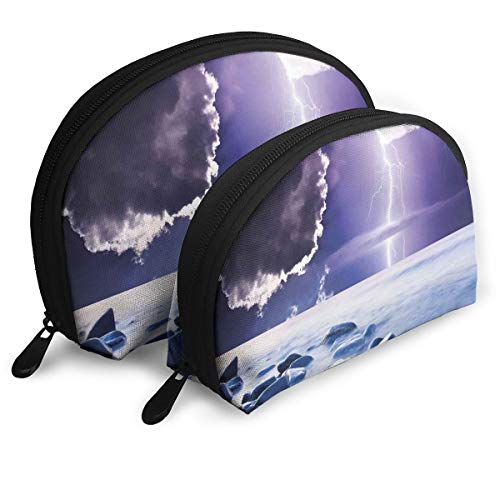 Shell Shape Makeup Bag Set Portable Purse Travel Cosmetic Pouch,Dark Ominous Rain Clouds With Mystic Sky Scenery With Electrical Thunder Photo,Women Toiletry Clutch