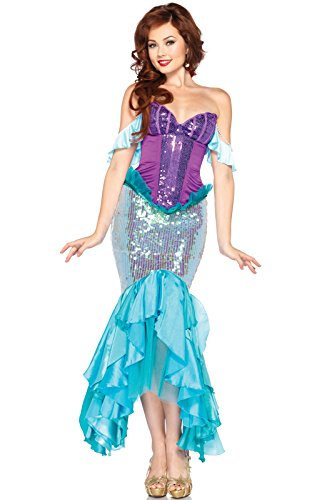 Sexy Disney Princesses (Leg Avenue Disney 3 Pc. Deluxe Ariel Includes Corset Straps and Skirt, Aqua/Purple, Small)