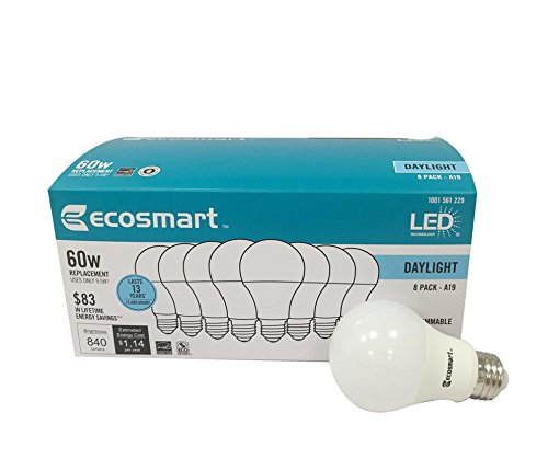 Ecosmart 8 Pack A19 - 60 Watt Equivalent Daylight (5000K) LED Light (Best Ecosmart Light Bulbs)