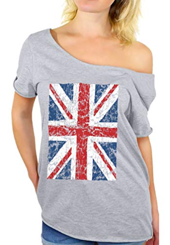 Awkward Styles Women's Union Jack Flag Off Shoulder Tops T-Shirt S -