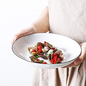 TGLBT 30 Ounces Porcelain Pasta/Salad Bowls, Large Serving Bowl Set, 9-Inch, Set of 6, White