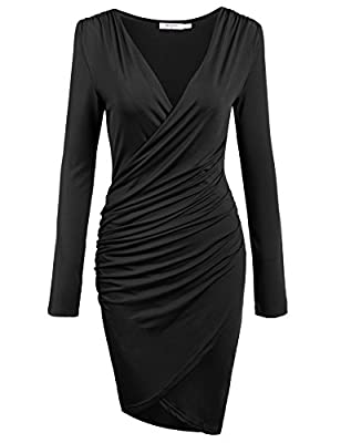 ANGVNS Women Long Sleeve Deep V-neck Pencil Dress Bodycon Solid Slim Party Banquet Knee Dress