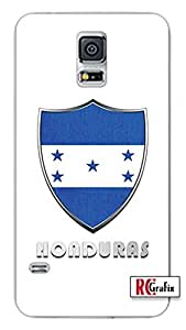 Honduras Flag Badge Direct UV Printed Samsung Galaxy Note 3, Note III Quality TPU SOFT RUBBER Snap On Case for Samsung Galaxy Note 3 - AT&T Sprint Verizon - White Case