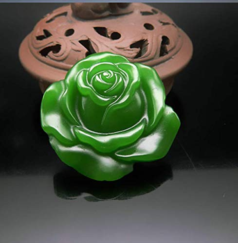 - XOBULLO Natural Green Jade Rose Hand-Carved Statues & Sculptures Lucky Amulet Necklace Pendant