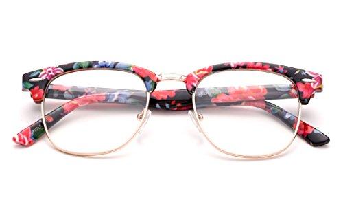 Newbee Fashion - Clubmaster Oval Stylish Retro Vintage Semi-Rimless Floral Classic Half Frame Clear Glasses Frames Floral Black V2