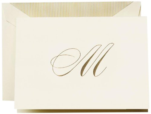 "Crane & Co. Hand Engraved Script""M"" Initial Note"