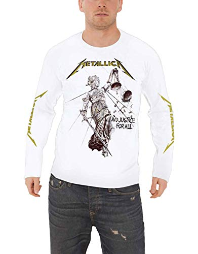 Metallica T Shirt and Justice for All Official Mens White Long Sleeve Size L (Best Musicians Of The 2000s)