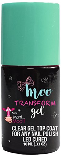Top Shine Ultra Coat (Moo Gel TRANSFORM . CLEAR GEL TOP COAT COMPATIBLE WITH ANY TYPE OF NAIL POLISH. LED CURED. NO WIPE. EASY REMOVAL. LONG LASTING HIGH SHINE TOP COAT)