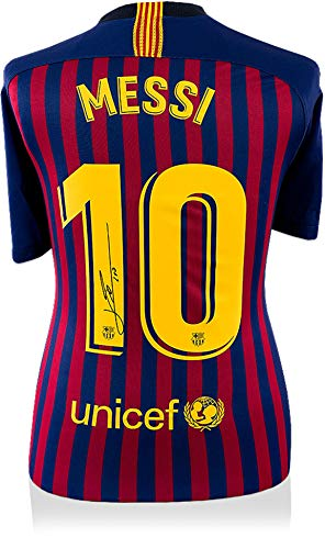 d345628f8 Lionel Messi Barcelona Autographed 2018-19 Home Jersey - ICONS - Fanatics  Authentic Certified - Autographed Soccer Jerseys