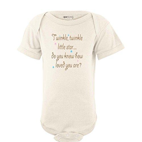 (Cute Unisex Twinkle Little Star Nursery Rhyme Short Sleeve Comfy Baby Bodysuit (Newborn, Cream))