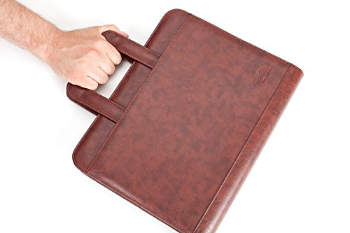 Professional Business Padfolio Portfolio Briefcase Style Organizer Folder With Handles Notepad and 3 Ring Binder - Brown Synthetic Leather... Photo #4