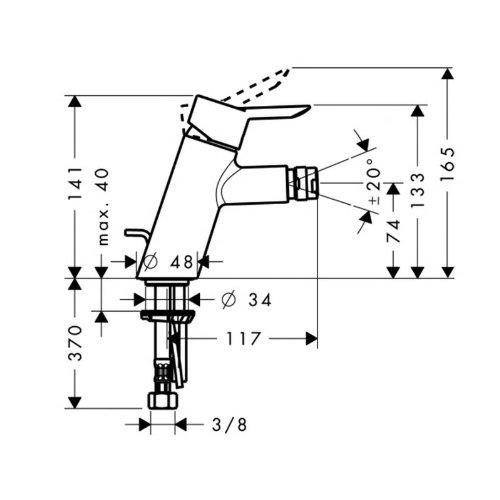 Hansgrohe 31721000 Bidet Armatur Focus S chrom mit Ablaufgarnitur